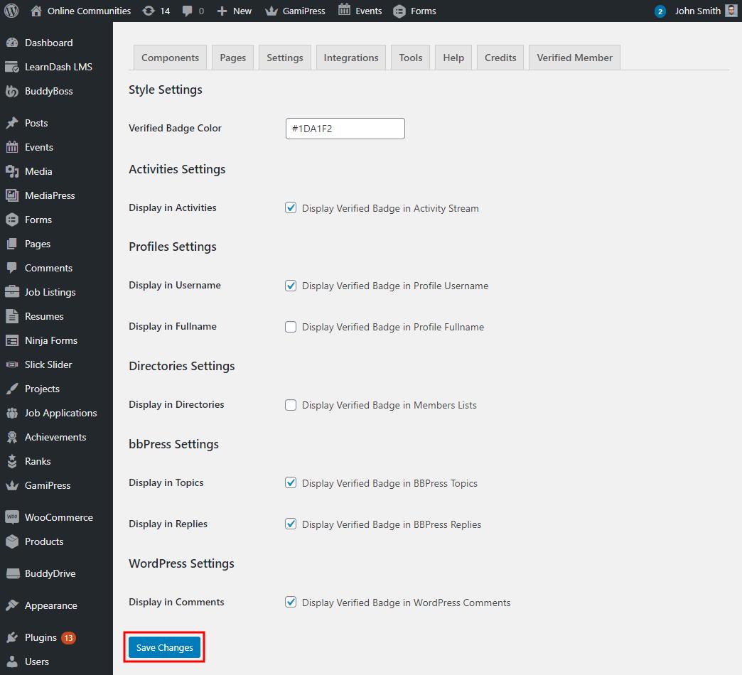 Verified Members - Setting up the plugin