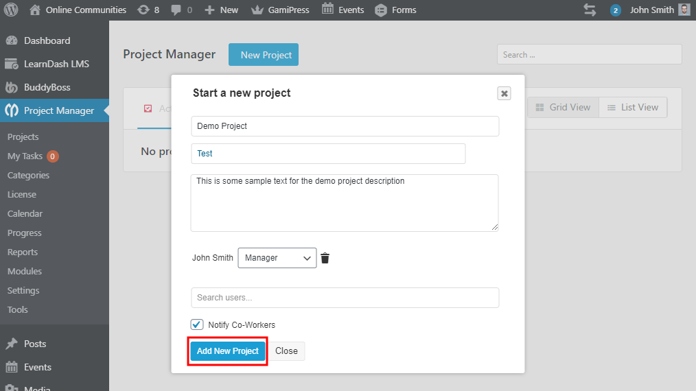 WP Project Manager - Creating a new project