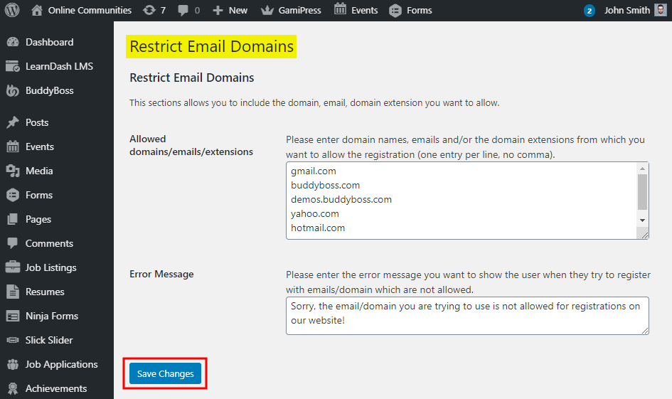 WordPress Restrict Email Domains - Setting up the plugin