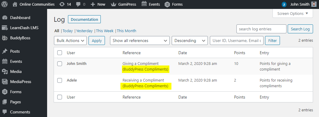 myCred for BuddyPress Compliments - Log for points via for BuddyPress Compliments