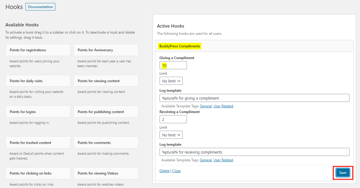myCred for BuddyPress Compliments - Setting up points for BuddyPress Compliments