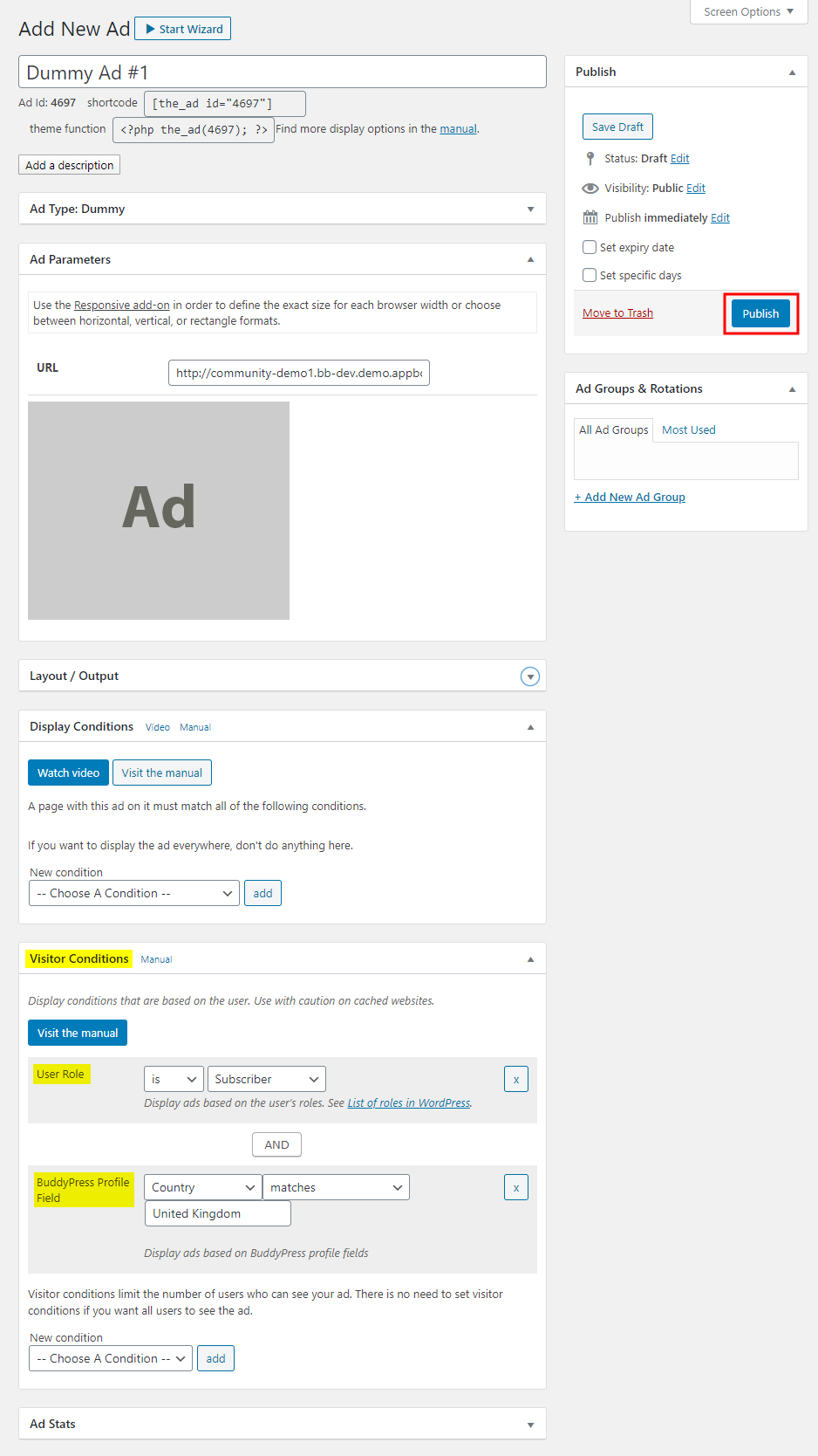 Advanced Ads – Creating a new ad