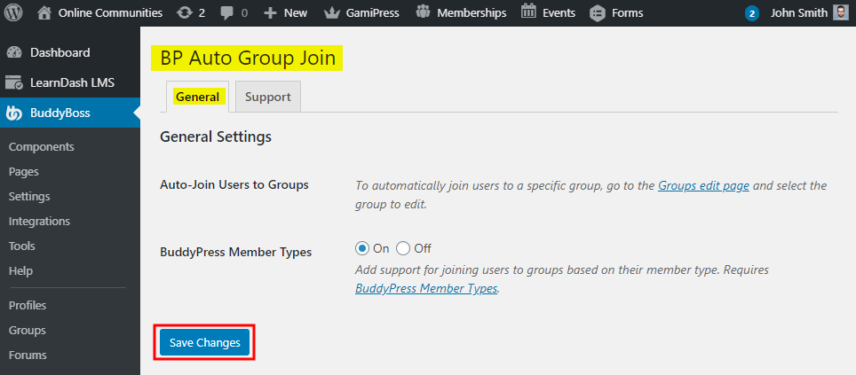 BP Auto Group Join - Setting up the plugin