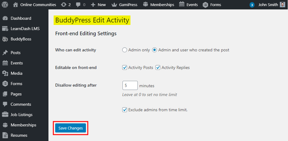 BuddyPress Edit Activity - Setting up the plugin