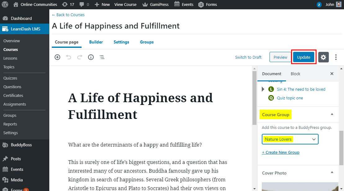 BuddyPress for LearnDash - Automatically adding students to a BuddyPress group