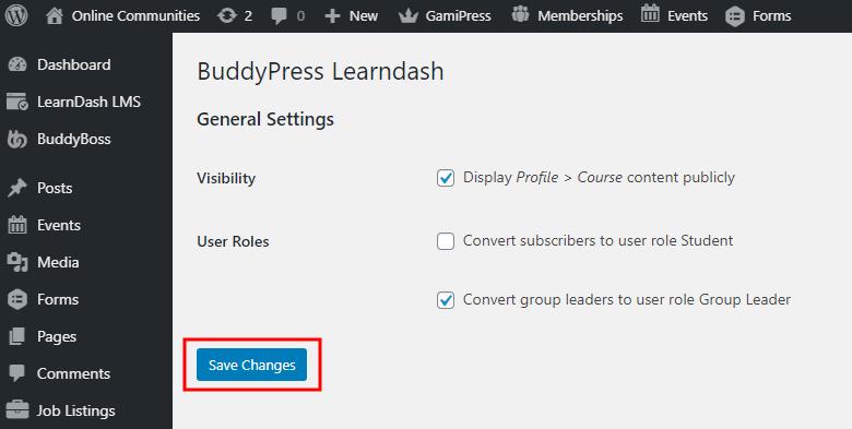 BuddyPress for LearnDash - Setting up the plugin