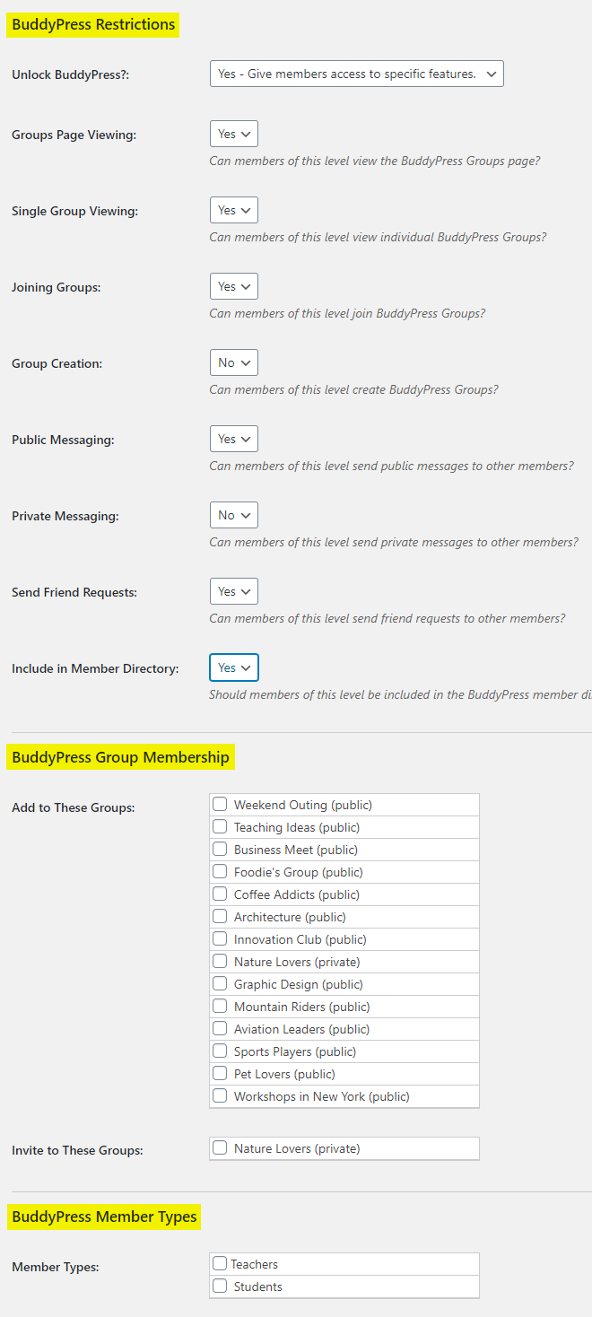 Paid Memberships Pro – BuddyPress Add On – Editing a membership level for BuddyPress features