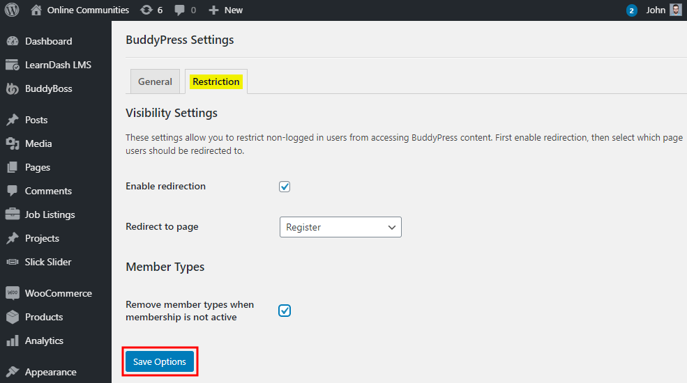 Restrict Content Pro - BuddyPress - Setting up the plugin
