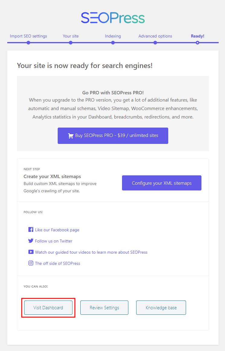 SEOPress – Setting up the plugin final step