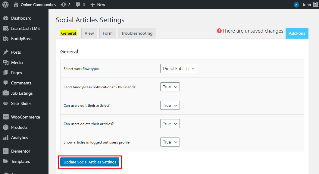 Social Articles - Setting up the plugin
