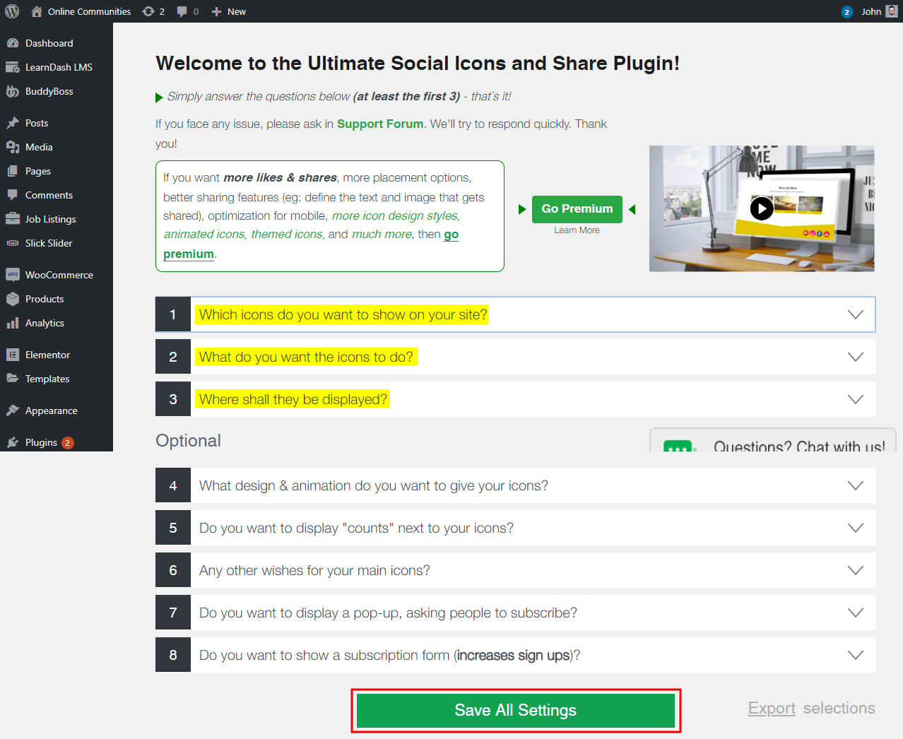 Social Media Share Buttons & Social Sharing Icons - Setting up the plugin