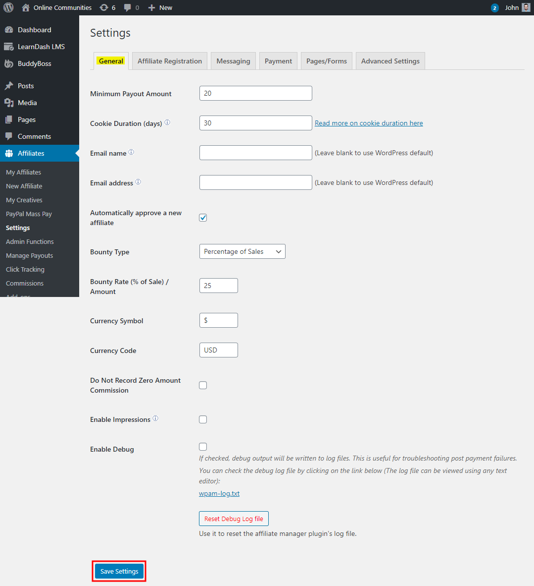 WP Affiliate Manager - Setting up the plugin