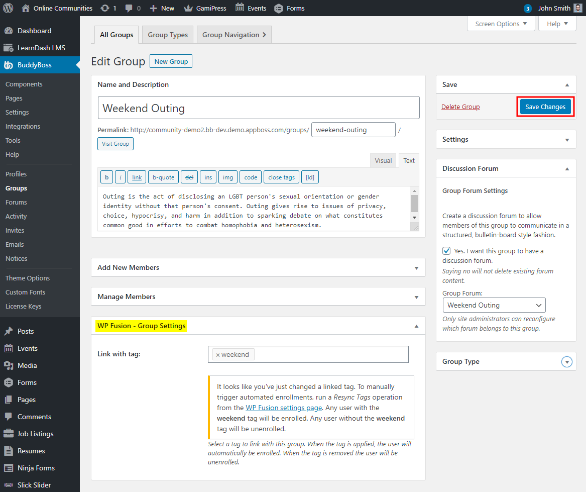 WP Fusion - Linking BuddyPress groups with a tag in the CRM