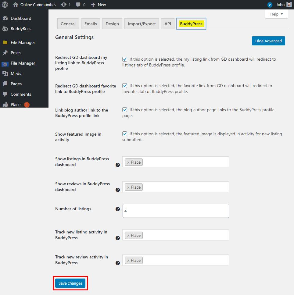 GeoDirectory - BuddyPress Integration - Setting up the plugin