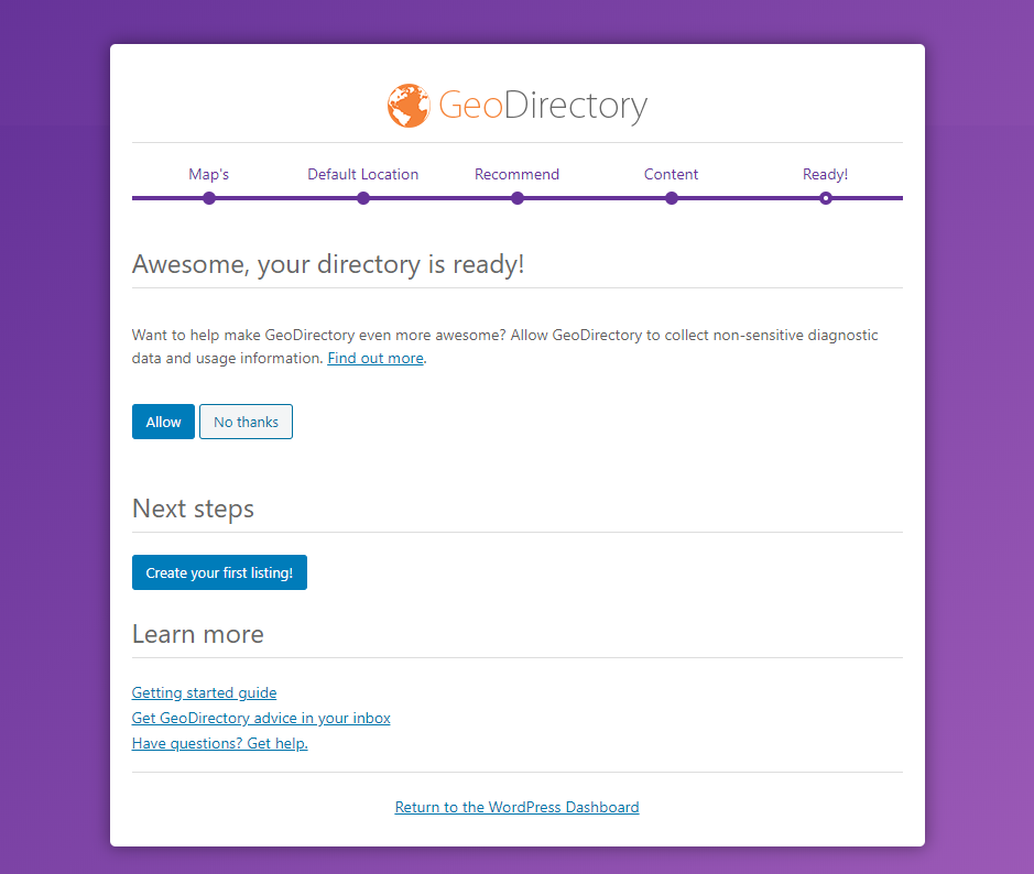 GeoDirectory - Setting up the plugin final step