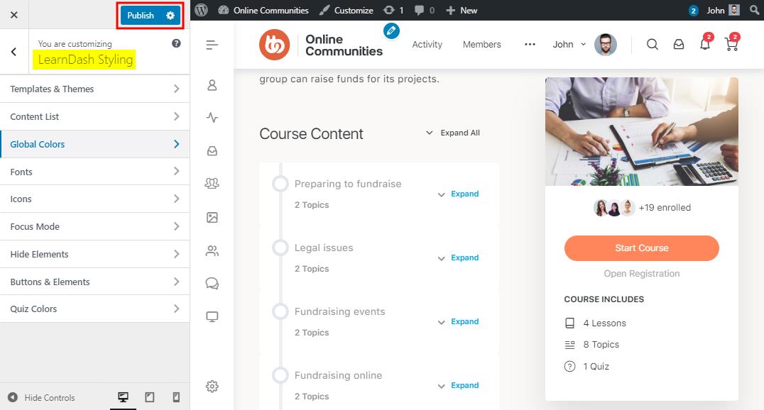 LearnDash Visual Customizer - Using the WordPress Customizer