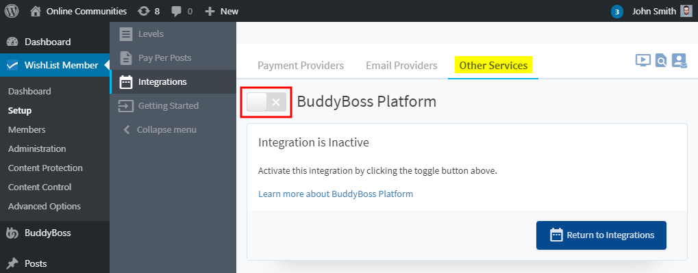 WishList Member Add-ons - Activating an integration