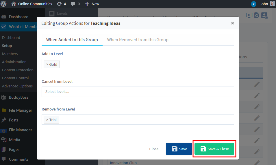 WishList Member - BuddyBoss Integration - Configuring Group actions