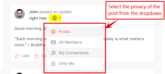 Activity Privacy - Changing the visibility of a post