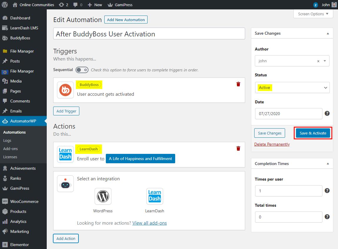 AutomatorWP – BuddyBoss Integration – Creating a new automation