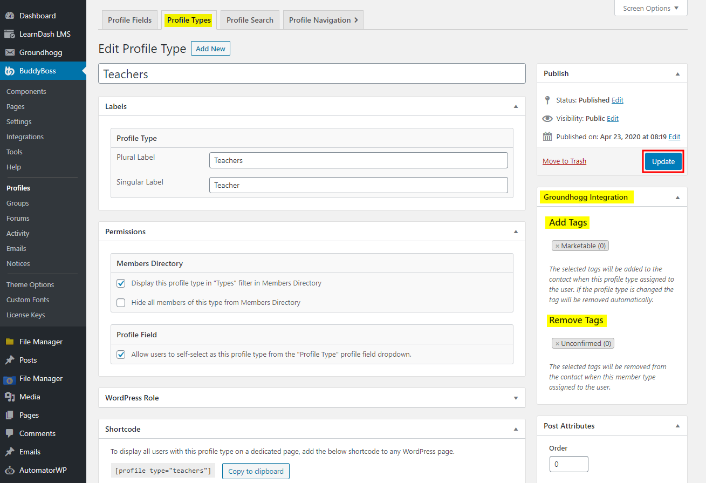 Groundhogg - BuddyBoss Integration - Adding tags based on BuddyBoss Profile Types