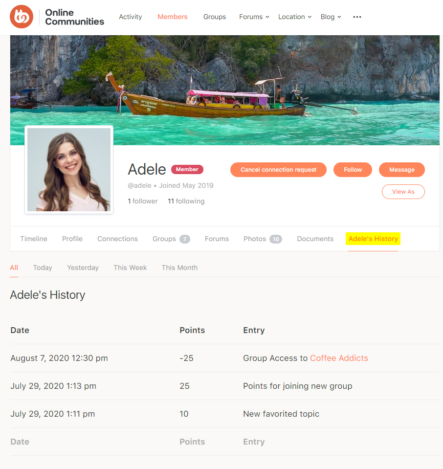 myCRED - BuddyPress – Preview points history on a user's profile
