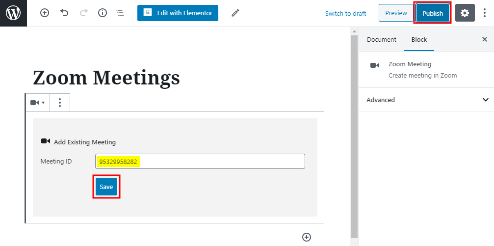Zoom - Adding an existing meeting using the Zoom Gutenberg Block