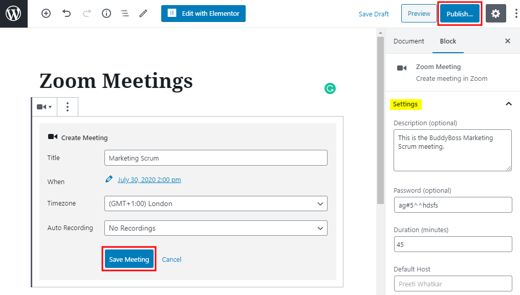 Zoom - Creating a new meeting using Zoom Gutenberg Block