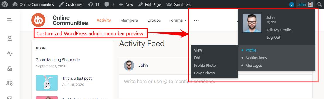 Profile Navigation Dropdown - Customized WordPress admin menu bar preview