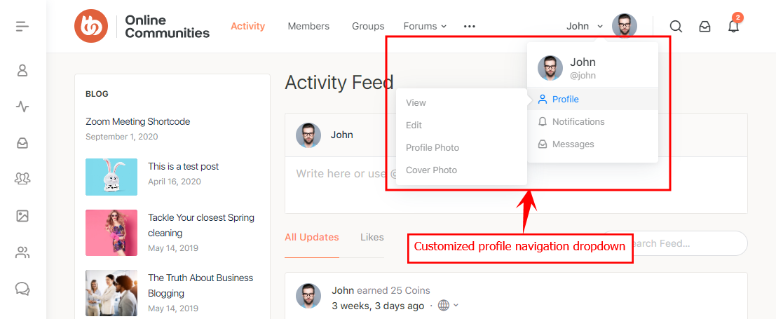 Profile Navigation Dropdown - Customized profile navigation dropdown preview
