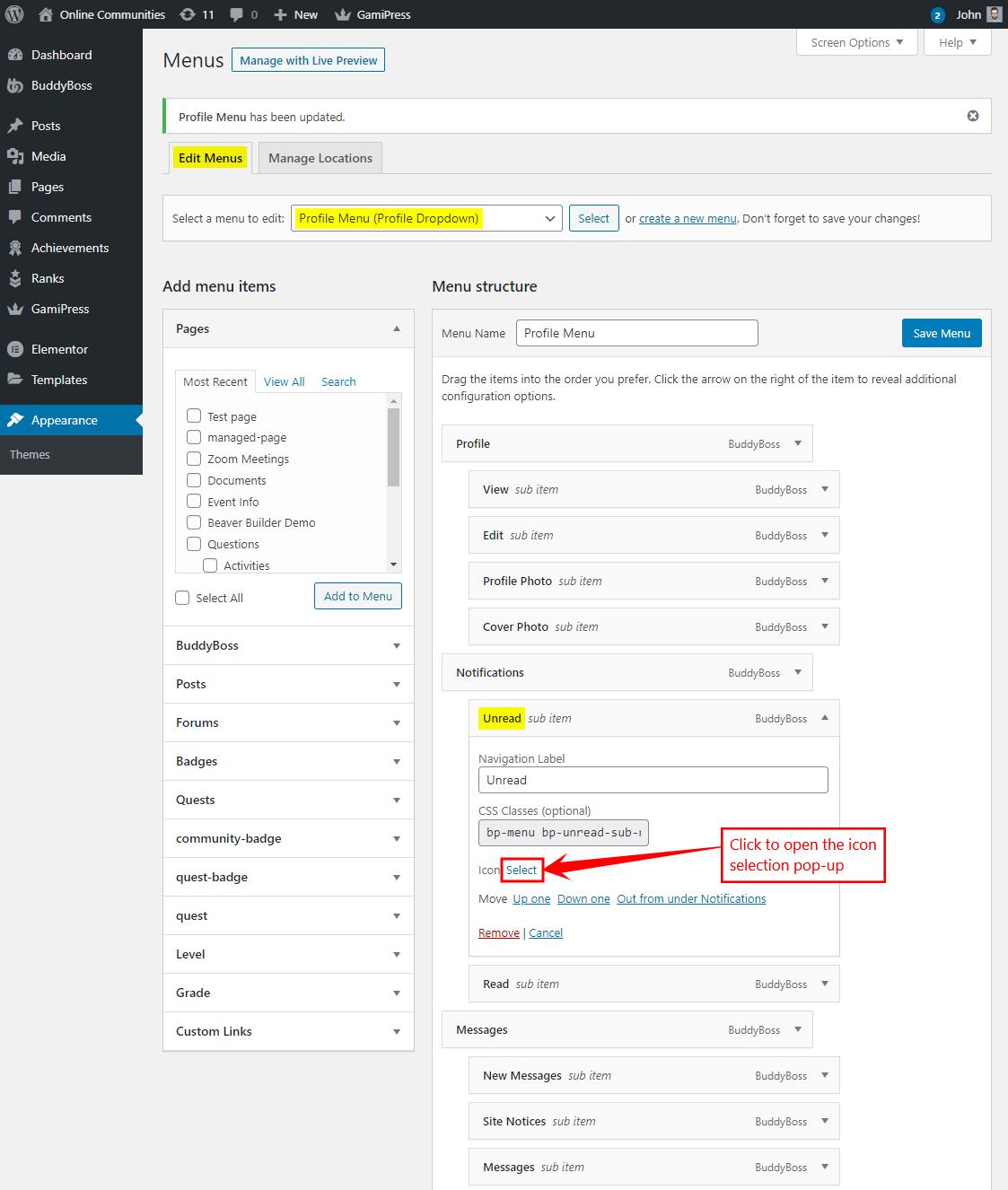 Profile Navigation Dropdown - Customizing the icon of a menu item
