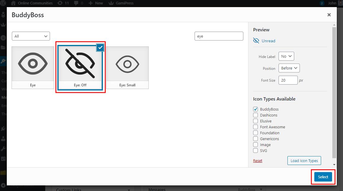Profile Navigation Dropdown - Selecting a custom icon for a menu item