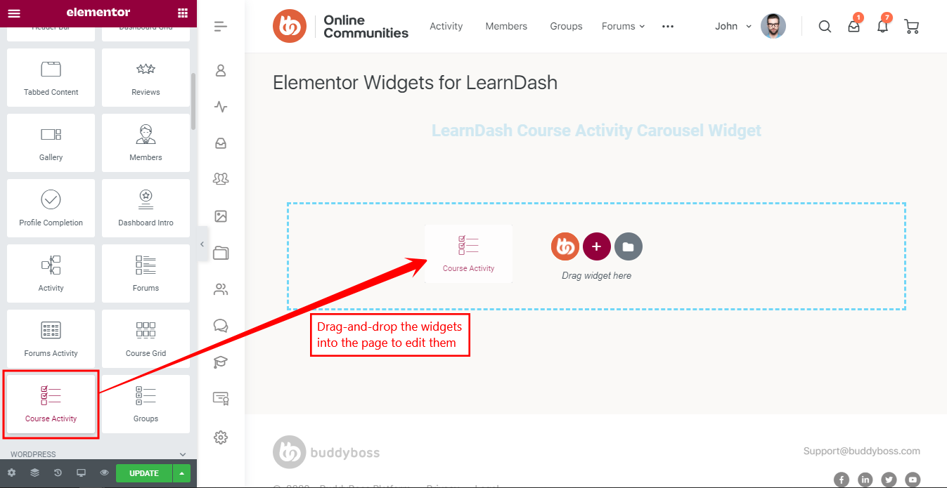 Elementor Widgets for LearnDash - Adding the LearnDash Course Activity widget to a page