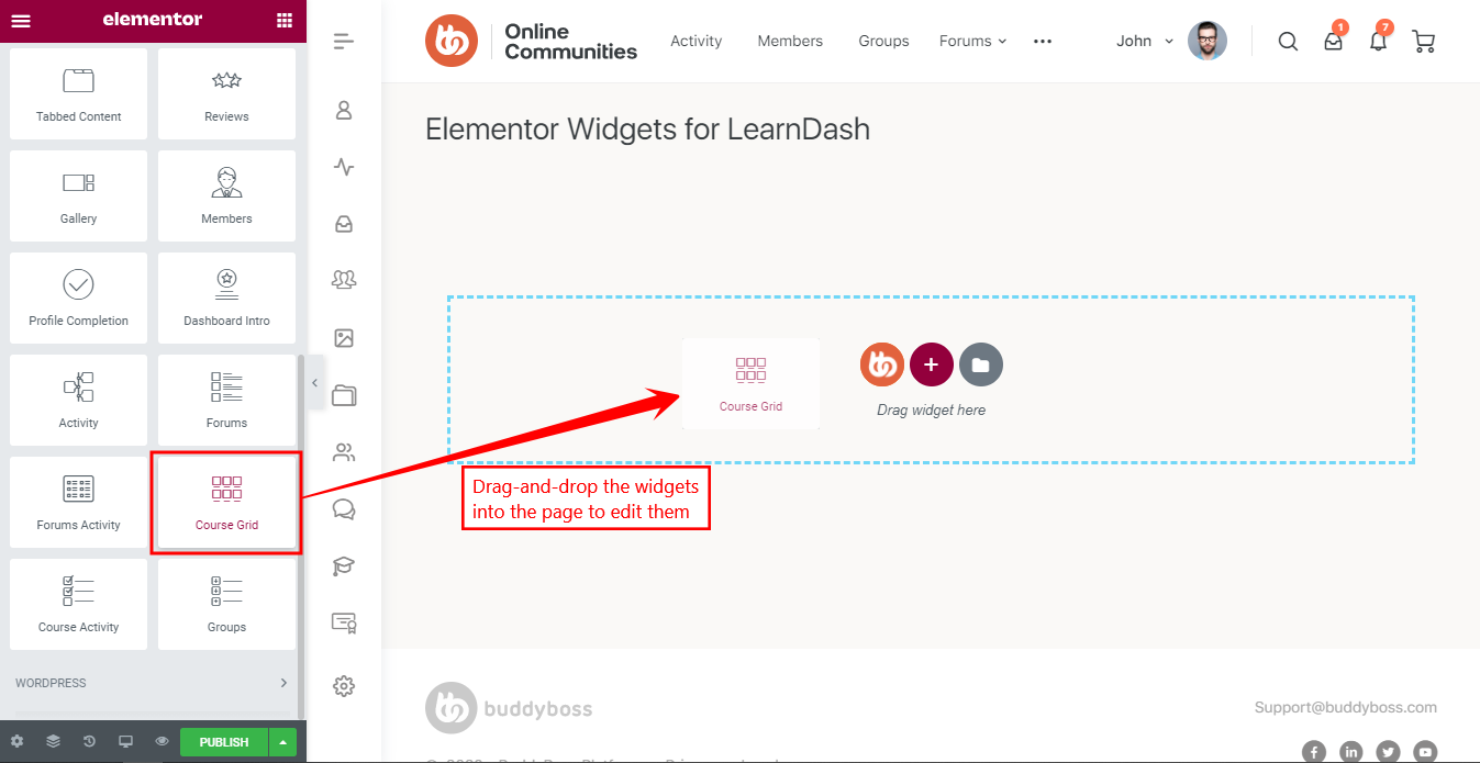 Elementor Widgets for LearnDash - Drag-and-drop course grid widget