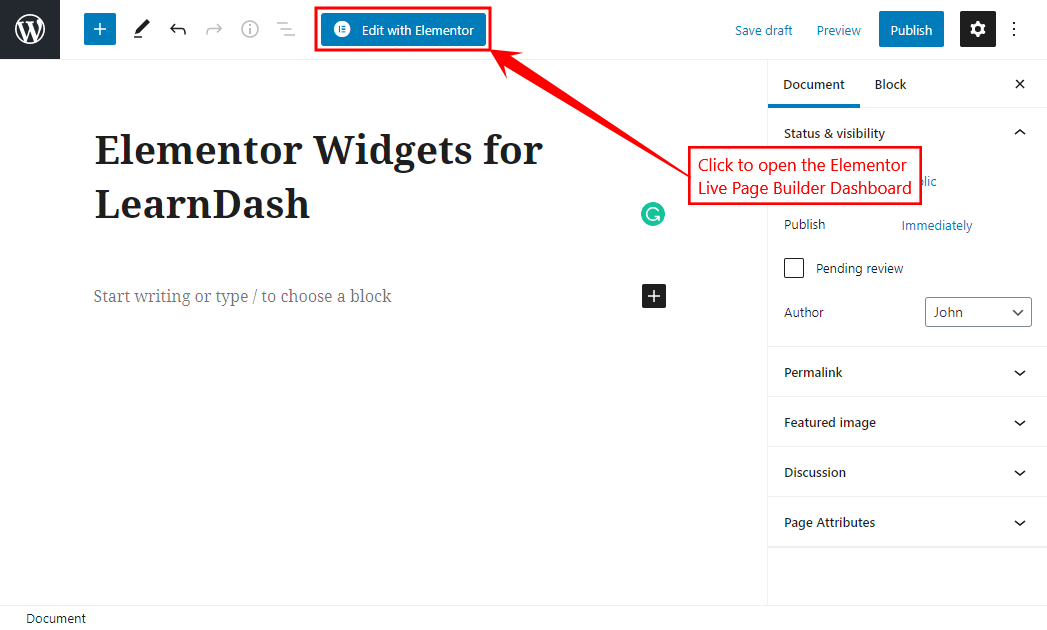Elementor Widgets for LearnDash - Opening the Elementor Live Page Builder Dashboard