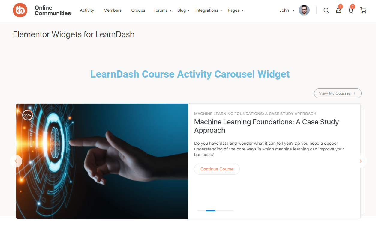 Elementor Widgets for LearnDash - Preview of the page with the course activity widget
