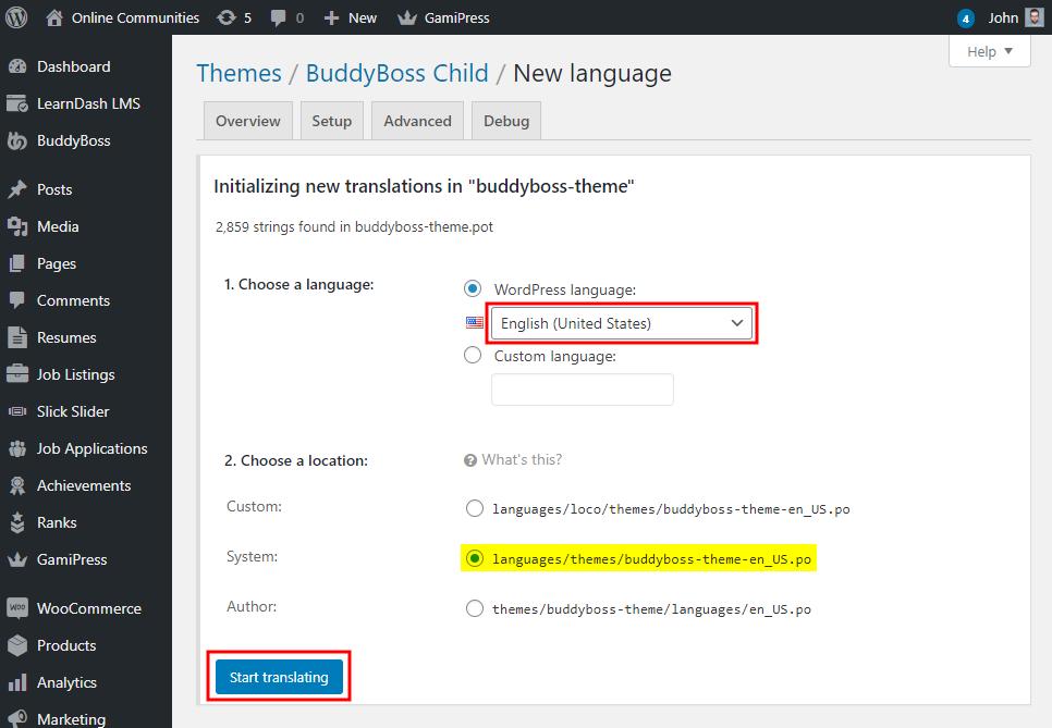 Changing theme language - Adding translations for the BuddyBoss Theme