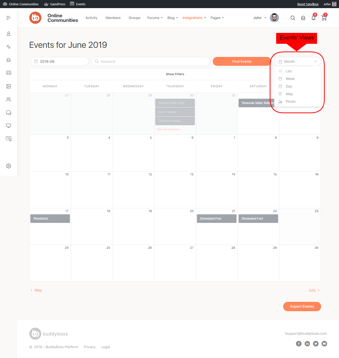 Events Calendar - Available Views
