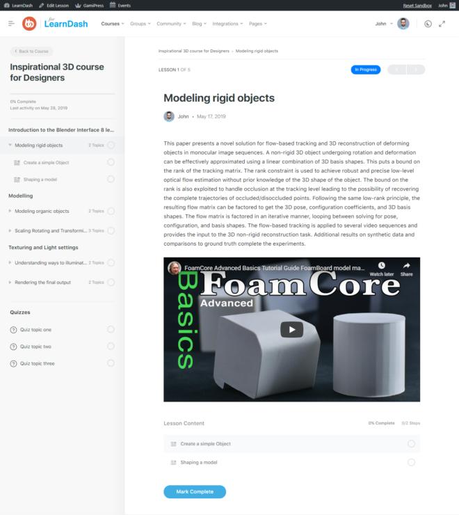 LearnDash - Single Lesson Page Preview