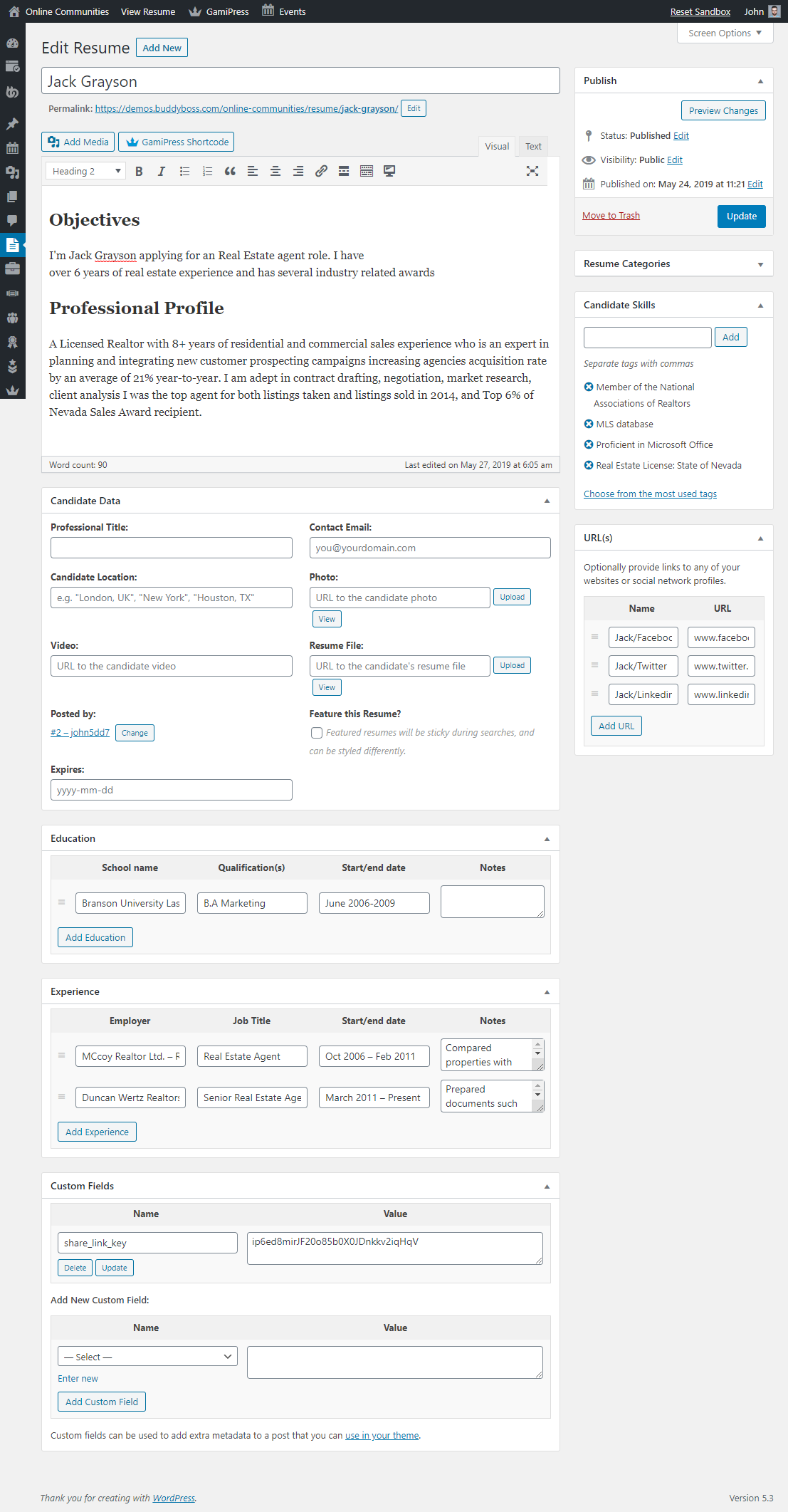 WP Job Manager Add-on- Edit Resume Preview