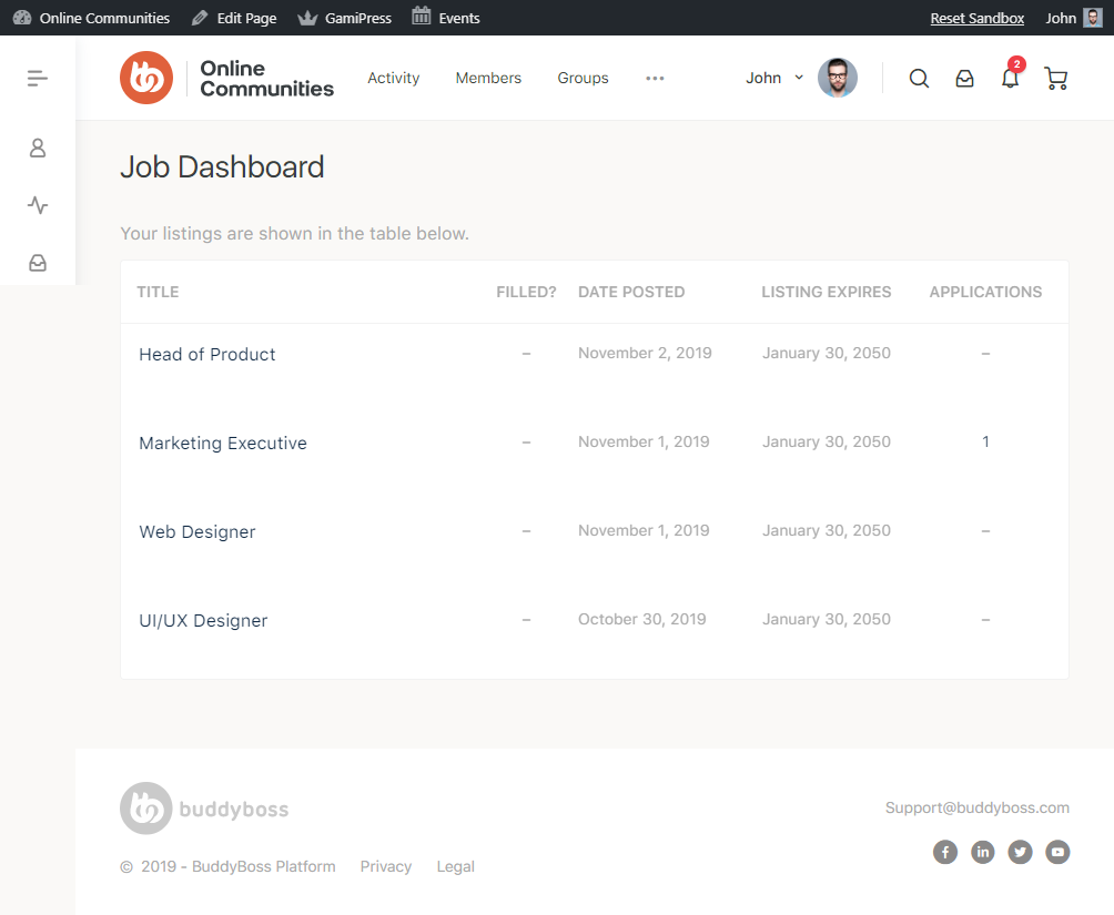 WP Job Manager - Job Dashboard Page Preview