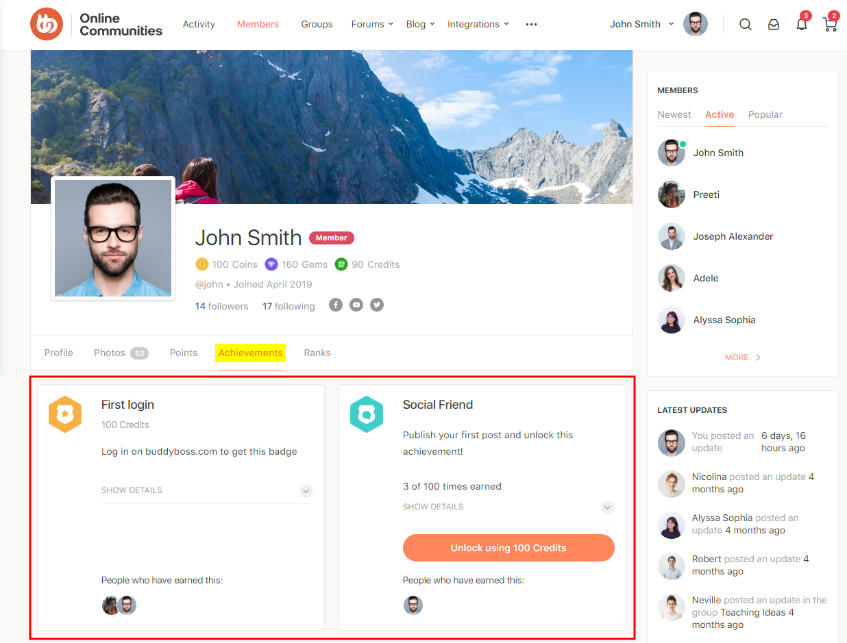 GamiPress + BuddyPress Integration - Achievements tab on a user's profile