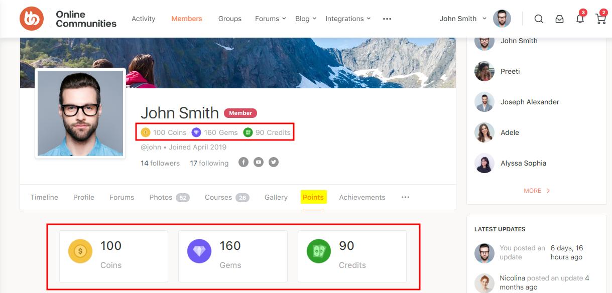 GamiPress + BuddyPress Integration - Points tab on a user's profile