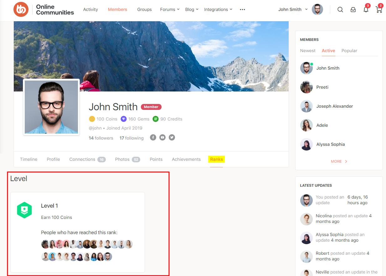 GamiPress + BuddyPress Integration - Ranks tab on a user's profile