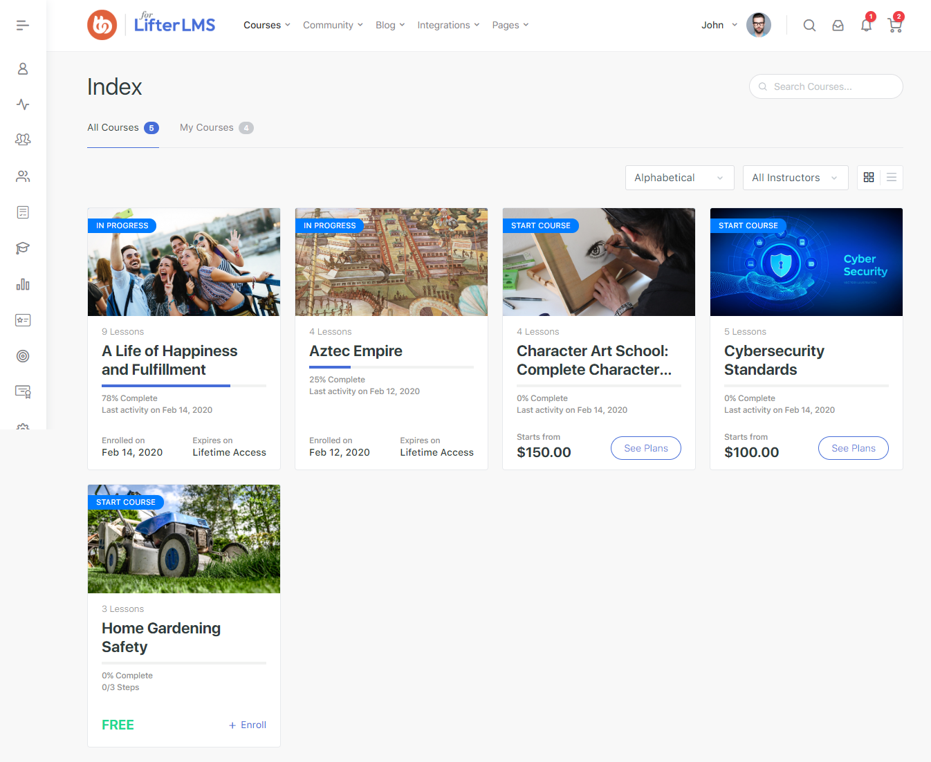 LifterLMS - All courses Index page preview