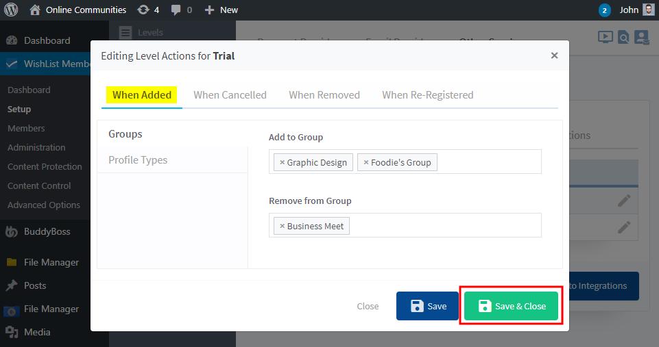 WishList Member - BuddyBoss Integration - Configuring BuddyBoss Platform actions