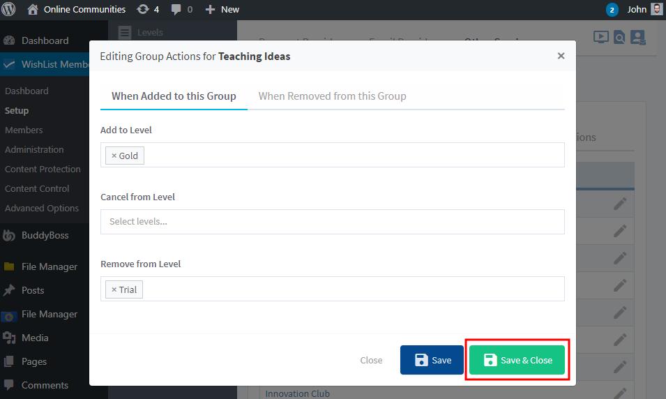 WishList Member - BuddyBoss Integration - Configuring Group actions