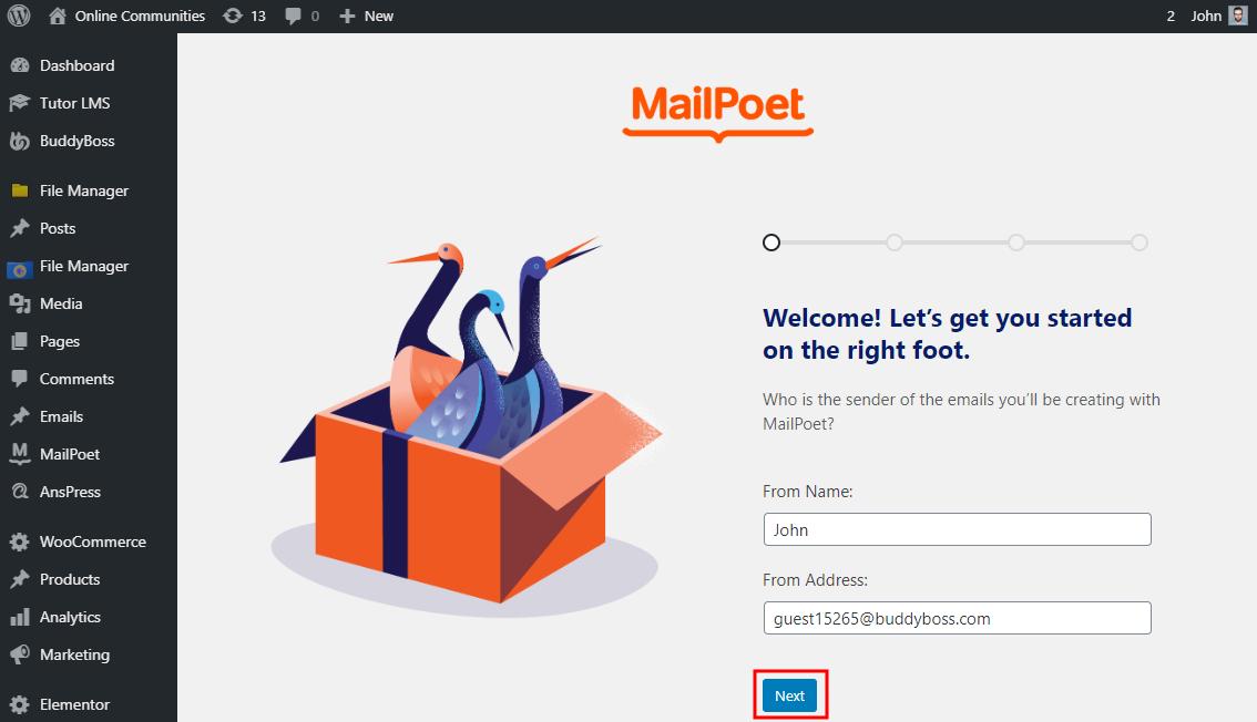 MailPoet - Setup wizard