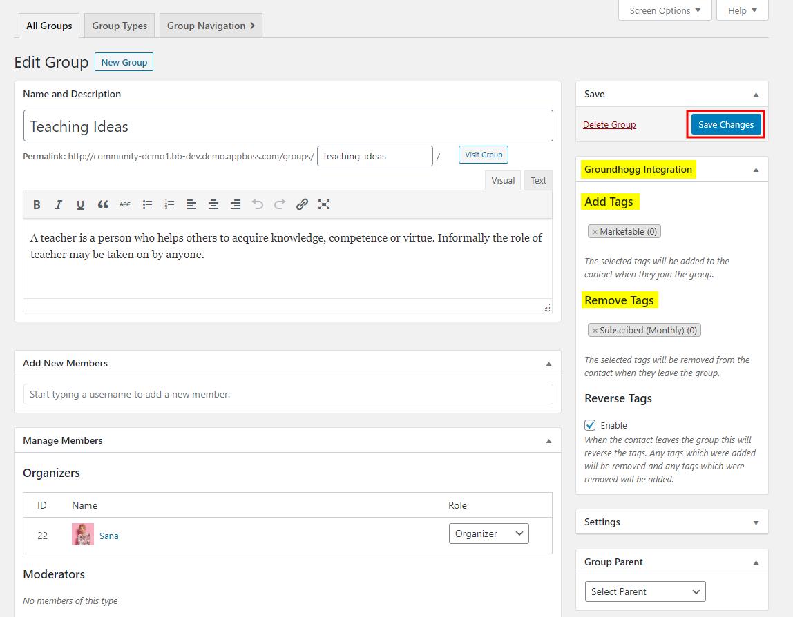 Groundhogg - BuddyBoss Integration - Adding tags based on social groups