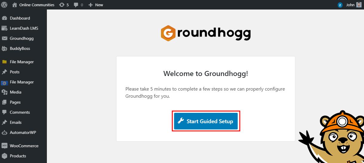 Groundhogg - Setting up the plugin 1